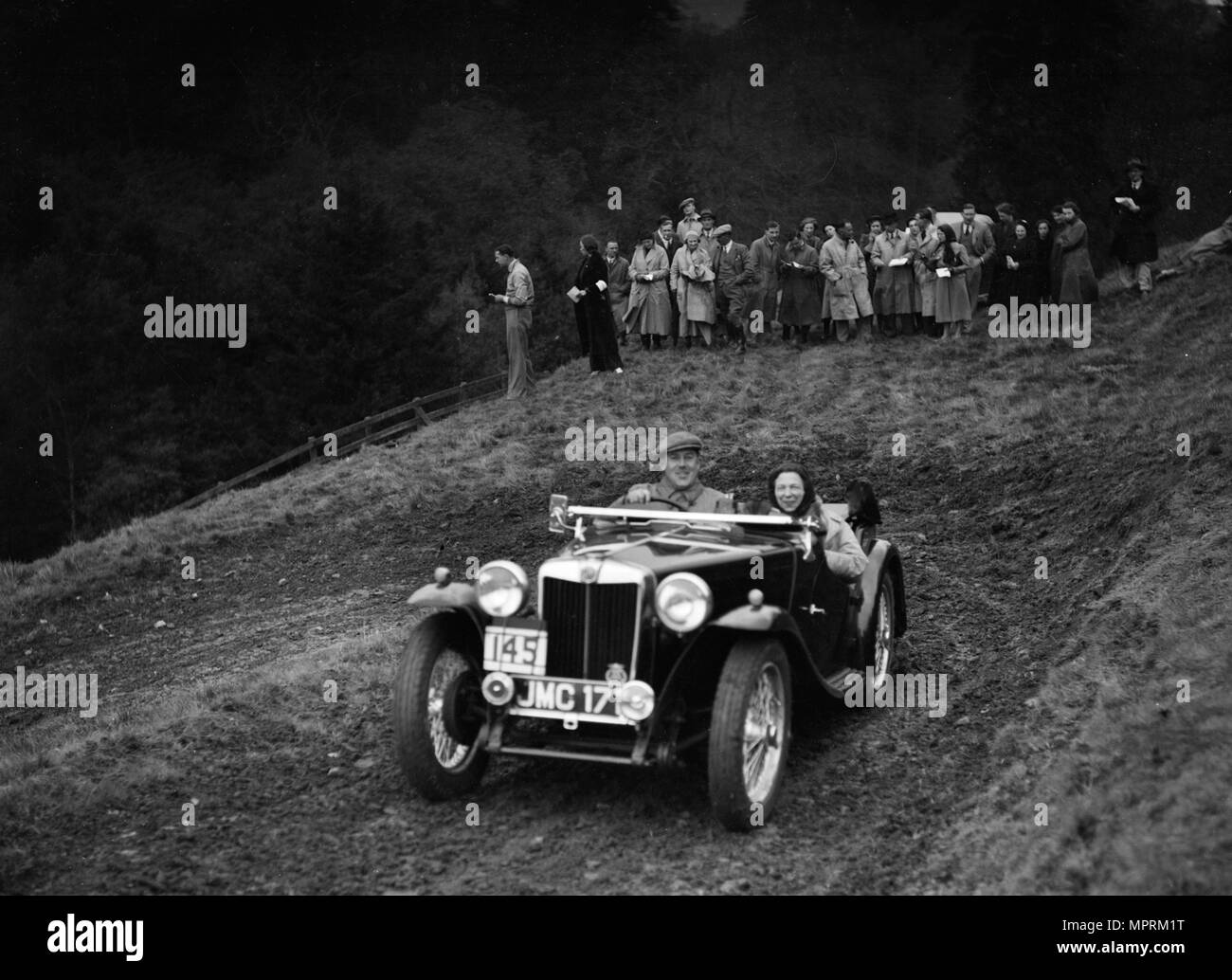MG TA of H Stevens competing in the MCC Edinburgh Trial, Roxburghshire, Scotland, 1938. Artist: Bill Brunell. - Stock Image