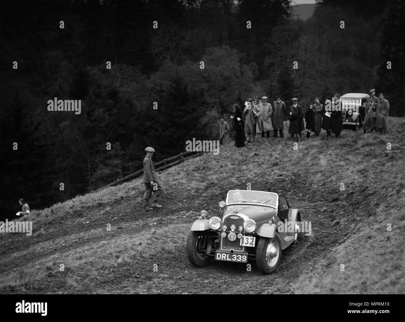 Morgan 4/4 of RD Harris competing in the MCC Edinburgh Trial, Roxburghshire, Scotland, 1938. Artist: Bill Brunell. - Stock Image