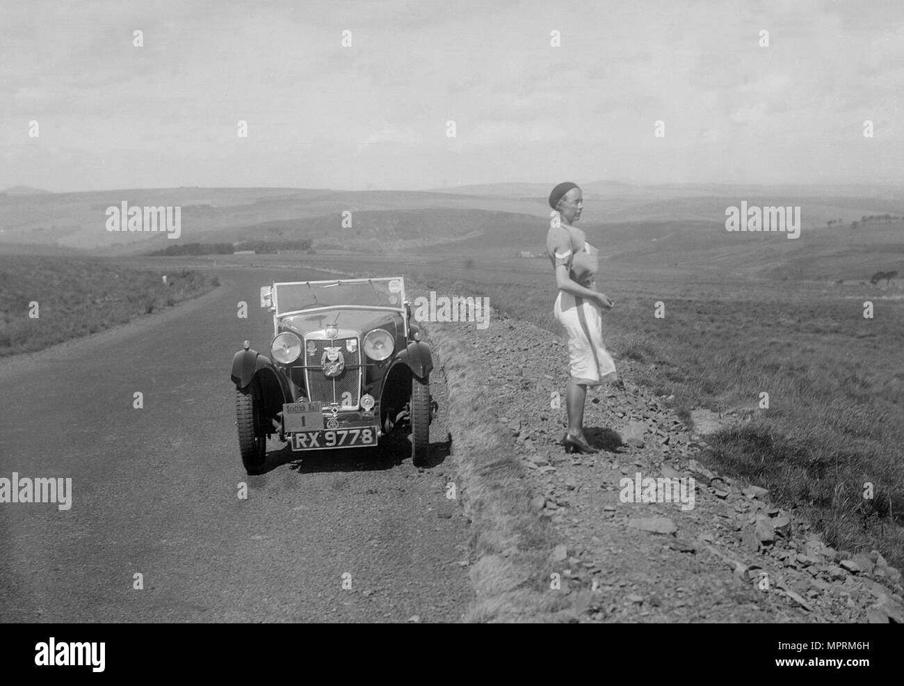 Kitty Brunell and her MG Magna at the RSAC Scottish Rally, 1932. Artist: Bill Brunell. - Stock Image
