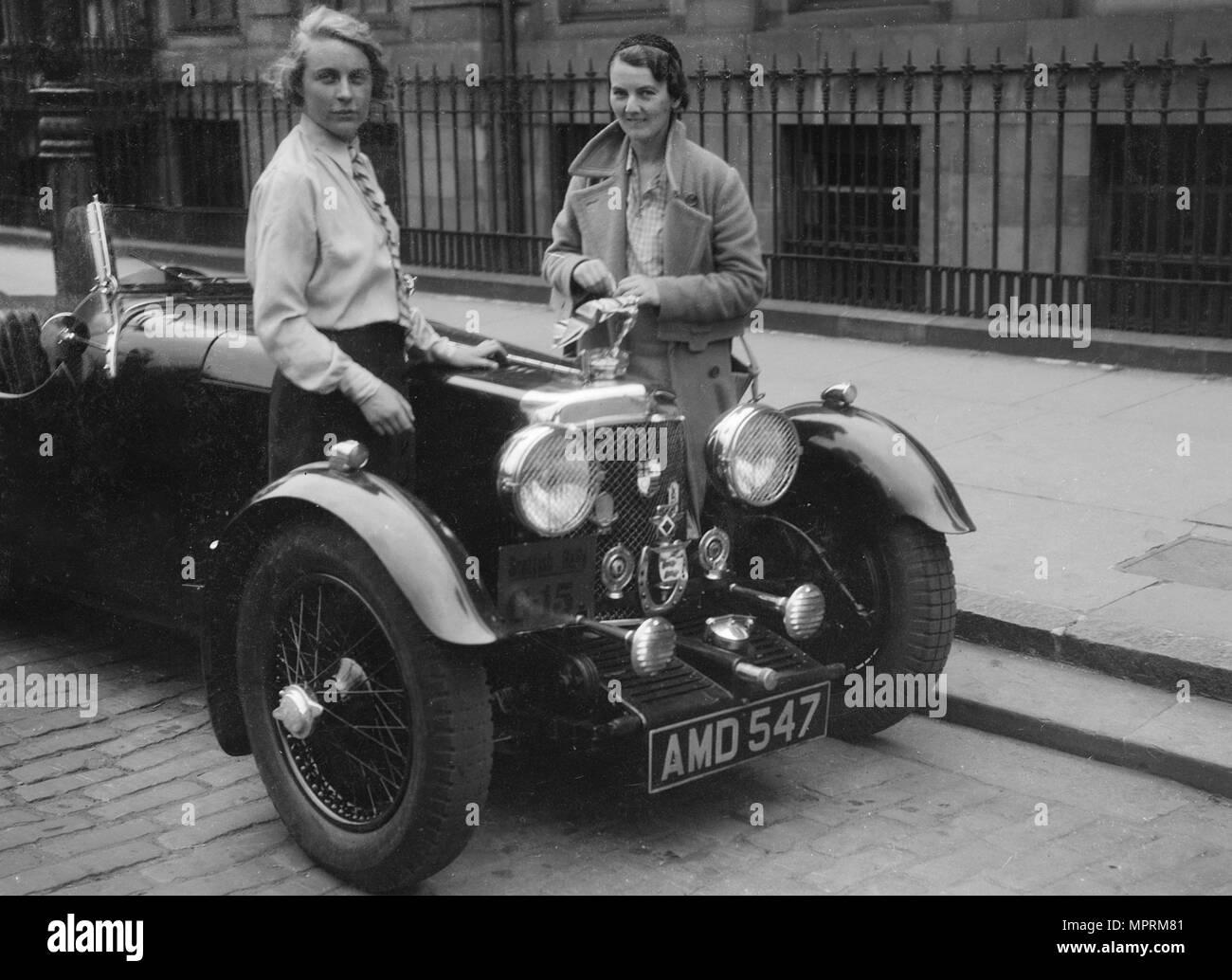 Aston Martin of Kitty Brunell at the RSAC Scottish Rally, 1933. Artist: Bill Brunell. - Stock Image