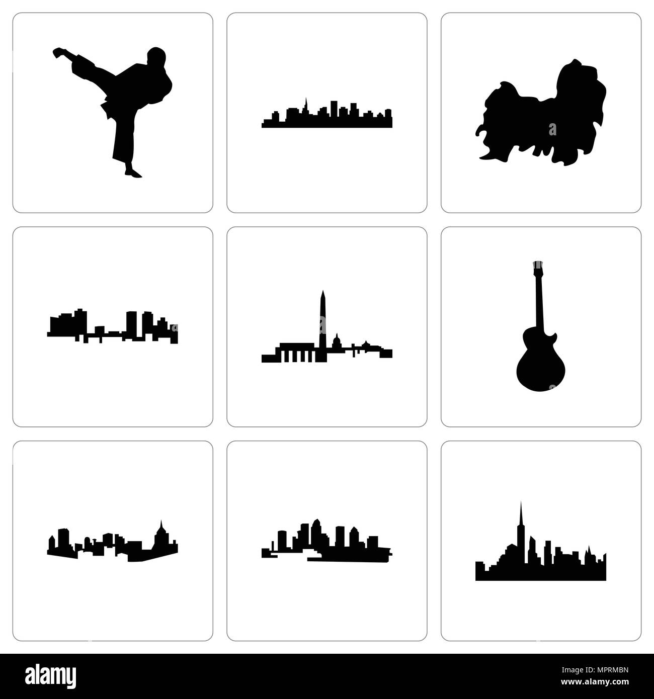 Set Of 9 simple editable icons such as nyc, florida, pittsburgh, image les paul, dc, fort worth, shih tzu, st karate kick, can be used for mobile, web - Stock Image