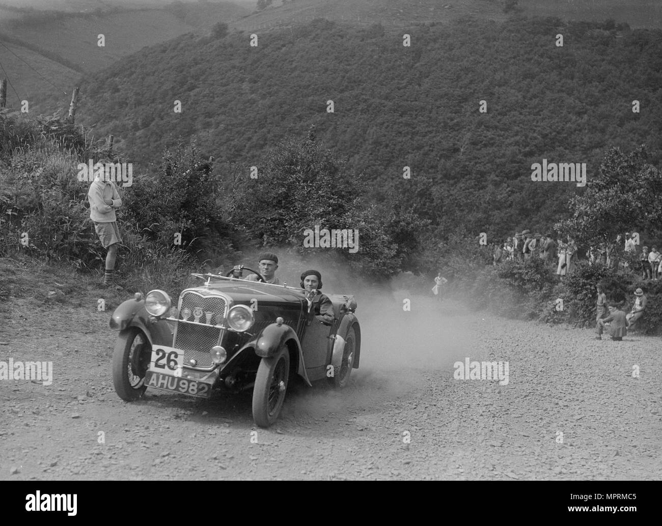 Singer competing in the Barnstaple Trial, c1935. Artist: Bill Brunell. - Stock Image
