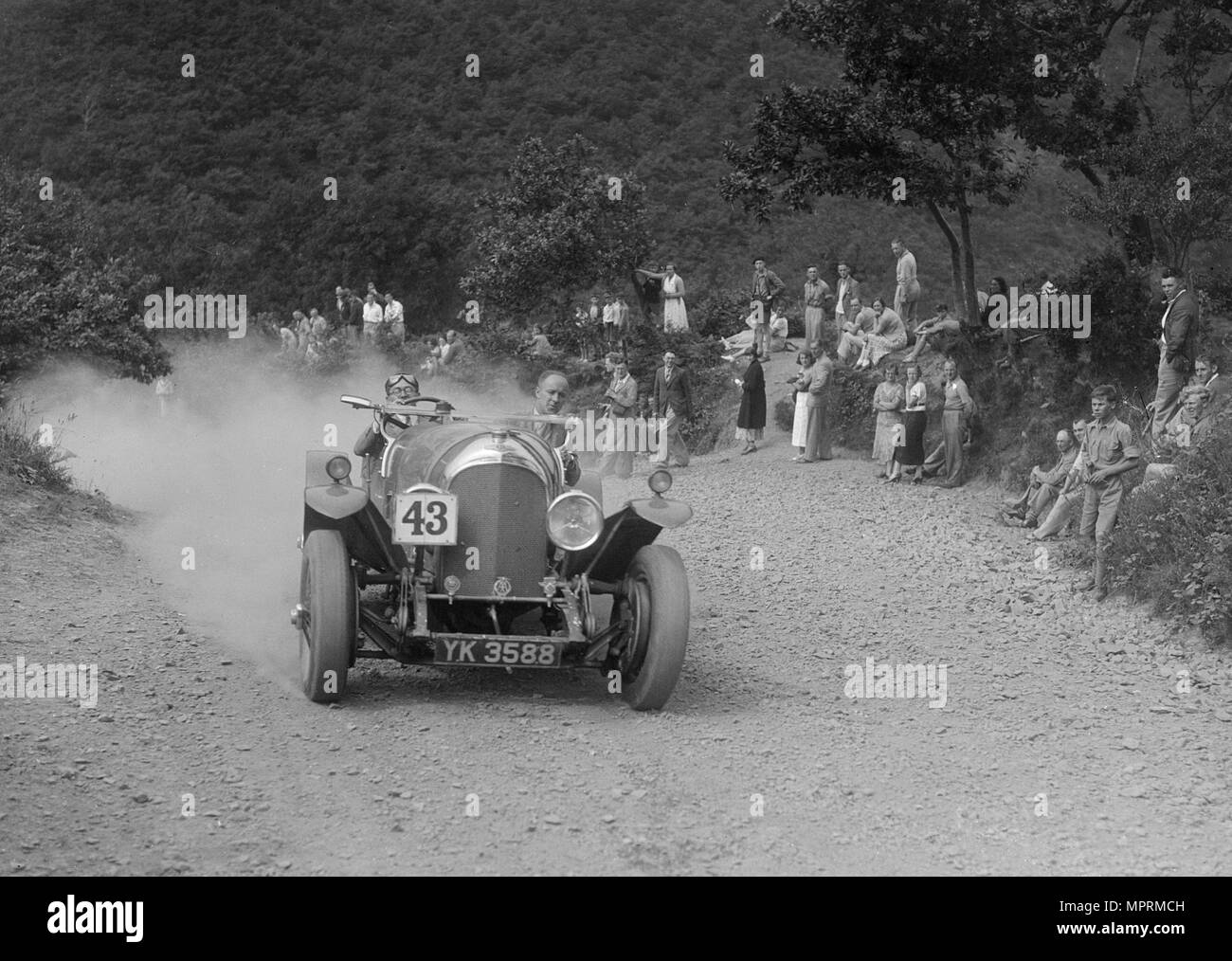 Bentley competing in the Barnstaple Trial, c1935. Artist: Bill Brunell. - Stock Image