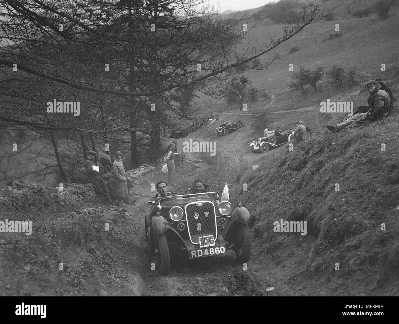 Singer competing in the MG Car Club Abingdon Trial/Rally, 1939. Artist: Bill Brunell. - Stock Image