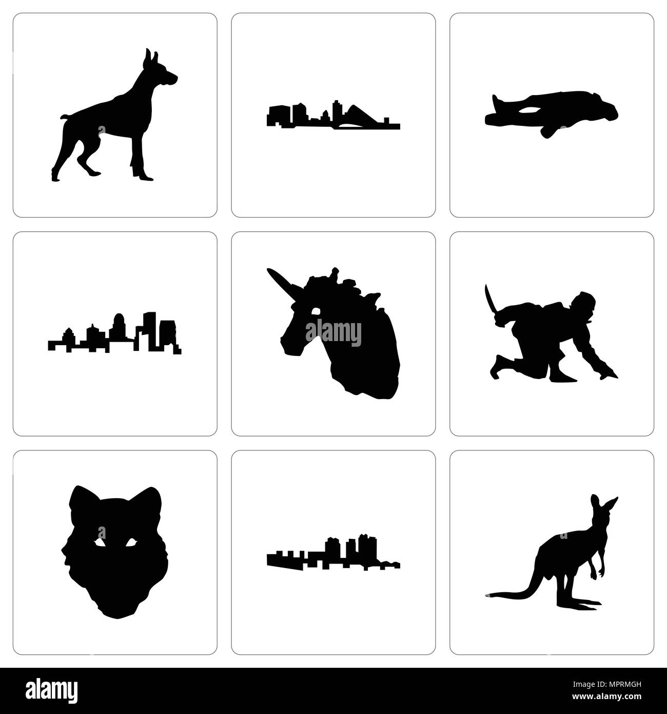 Set Of 9 simple editable icons such as kangaroo, haiti, wolf