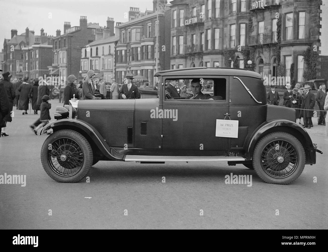 Talbot 14-45 sportsman's coupe of RG Roberts at the Southport Rally, 1928. Artist: Bill Brunell. - Stock Image