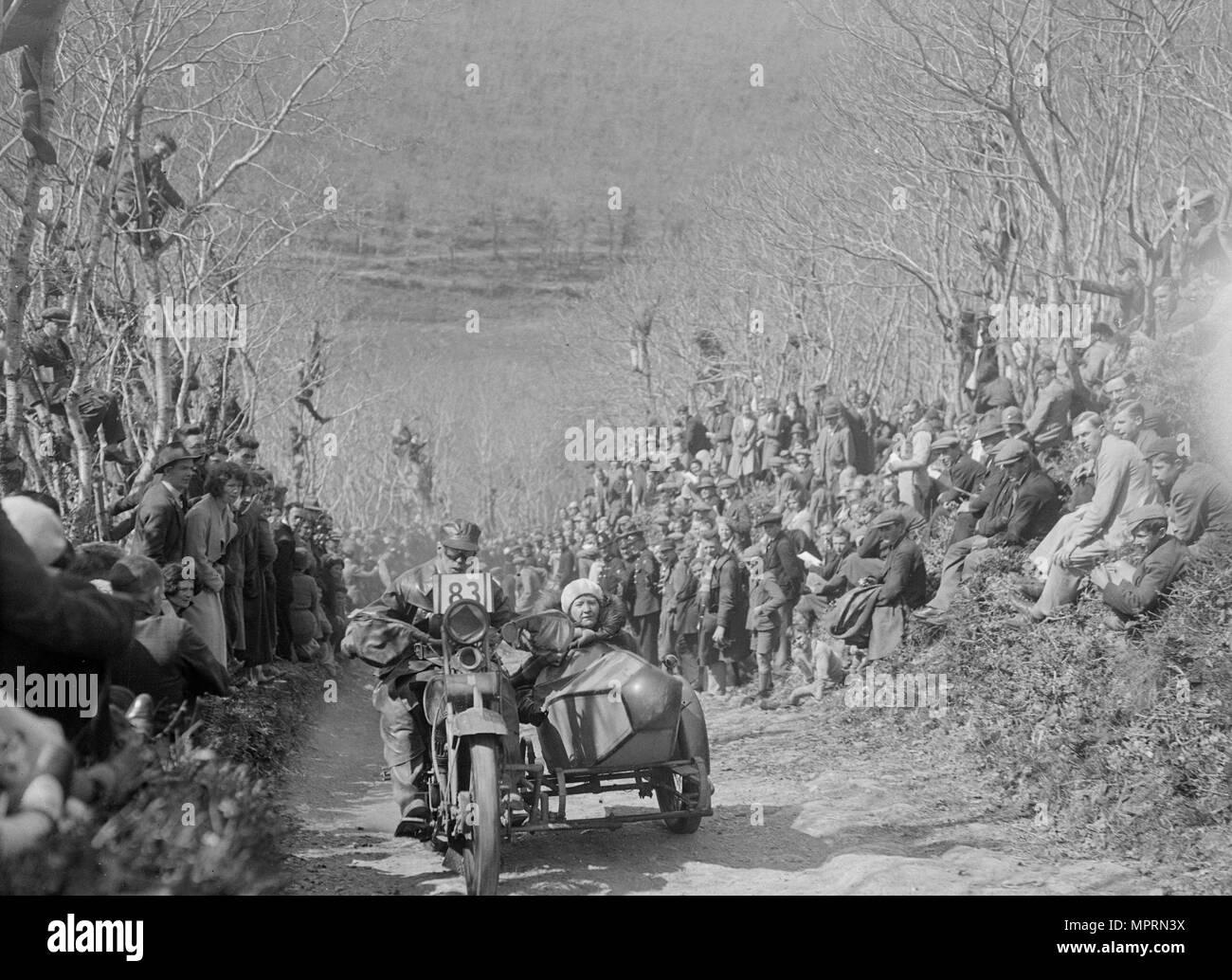 Harley-Davidson of RW Praill, MCC Lands End Trial, Hustyn Hill, Wadebridge, Cornwall, 1933. Artist: Bill Brunell. Stock Photo