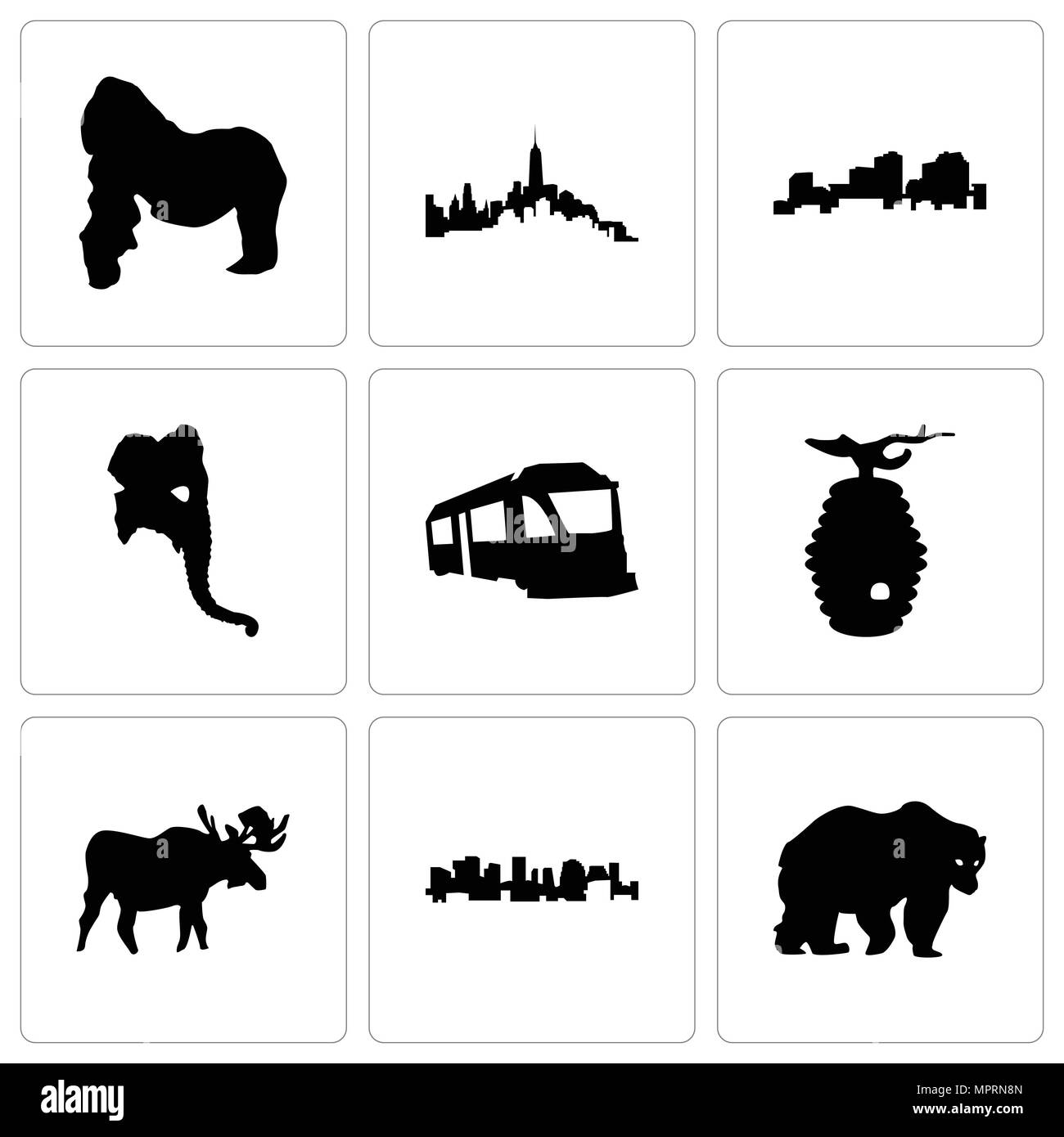 Set Of 9 simple editable icons such as bear, norway, moose, beehive