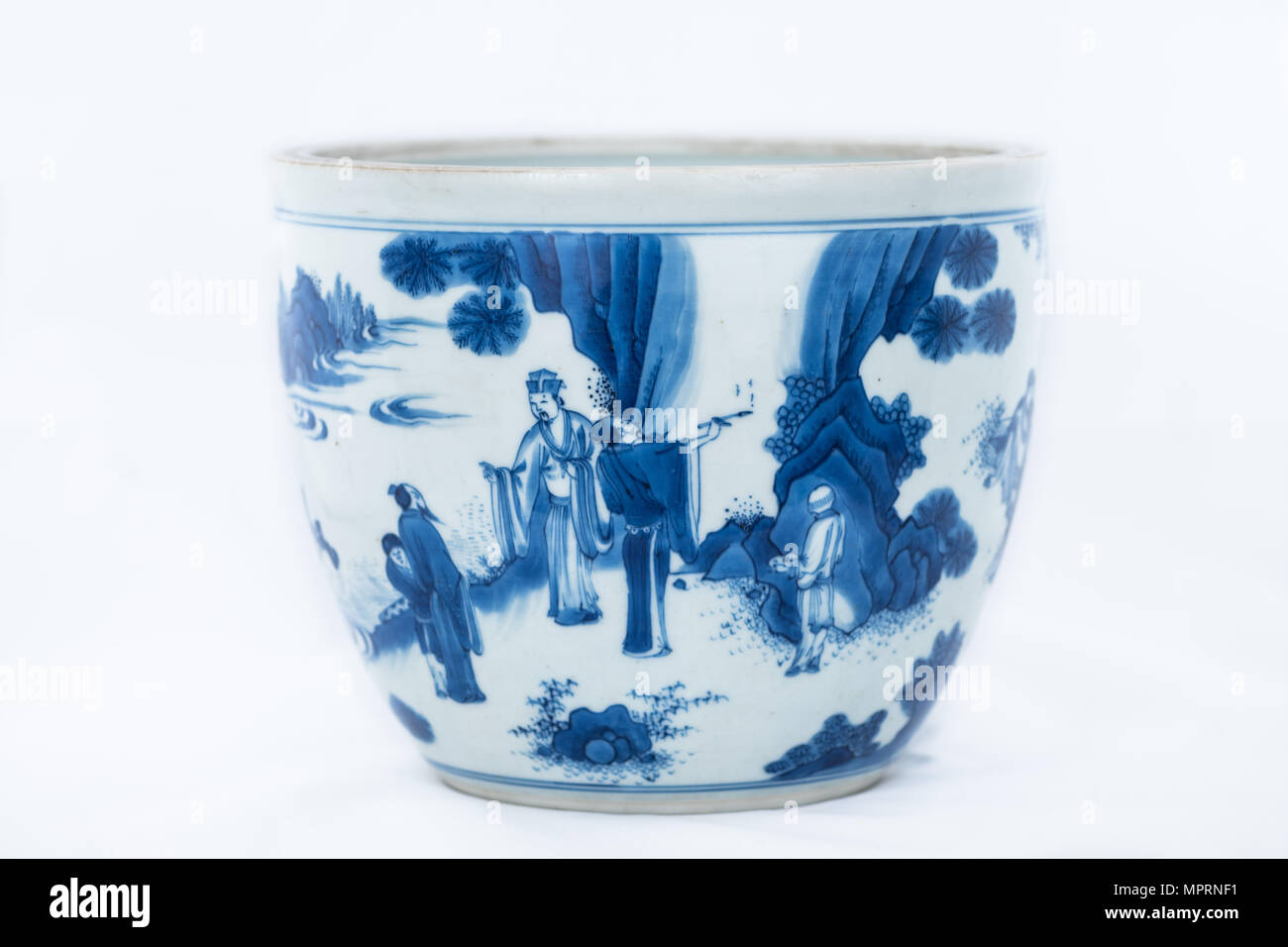 Deep blue and white fish bowl of sages in bamboo grove, 1630-1650. Artist: Unknown. - Stock Image