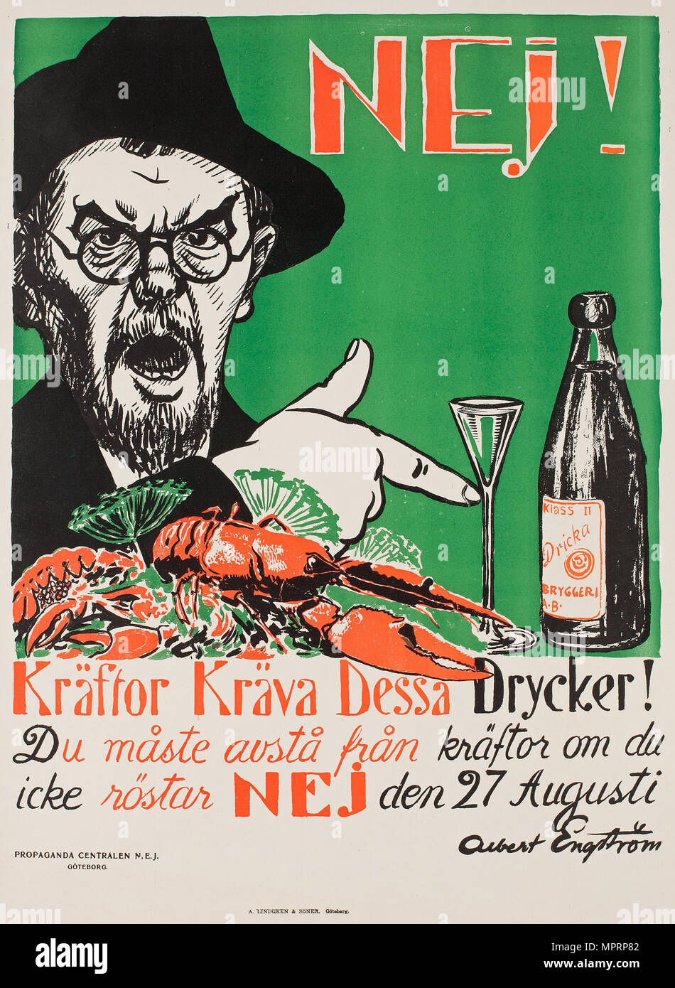 No! Crayfish require these drinks!, Swedish anti-Prohibition poster, 1922. - Stock Image