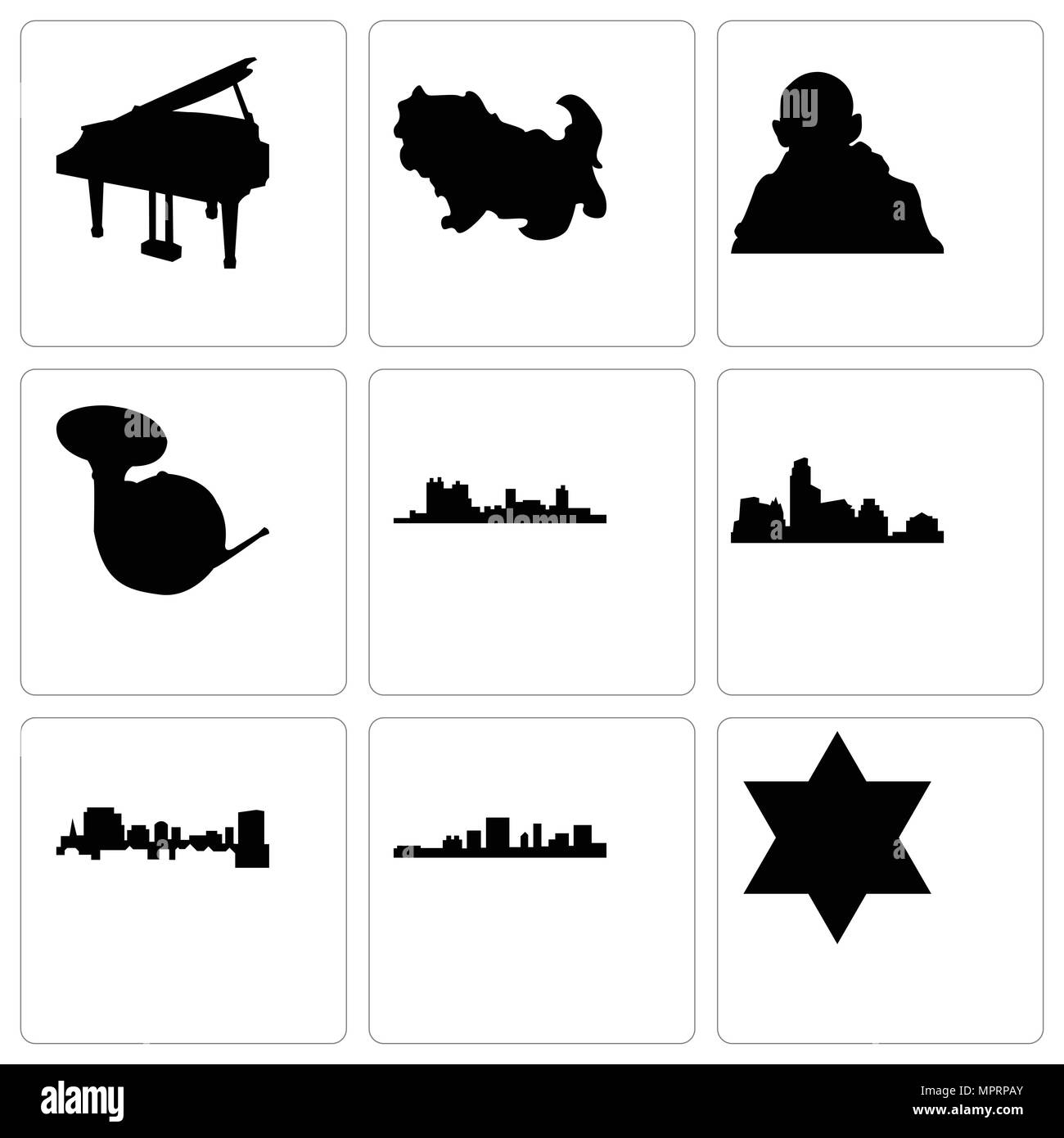 Set Of 9 Simple Editable Icons Such As Star Of David South Carolina