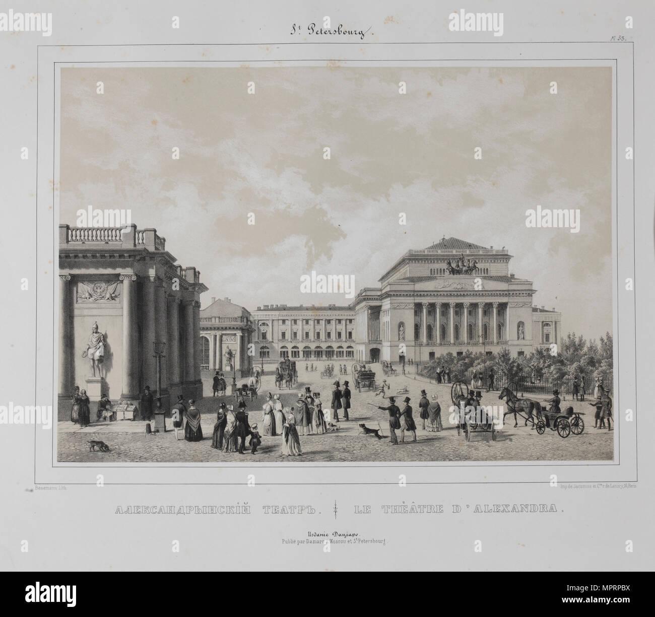 The Alexandrinsky Theatre in Saint Petersburg, 1840s. - Stock Image