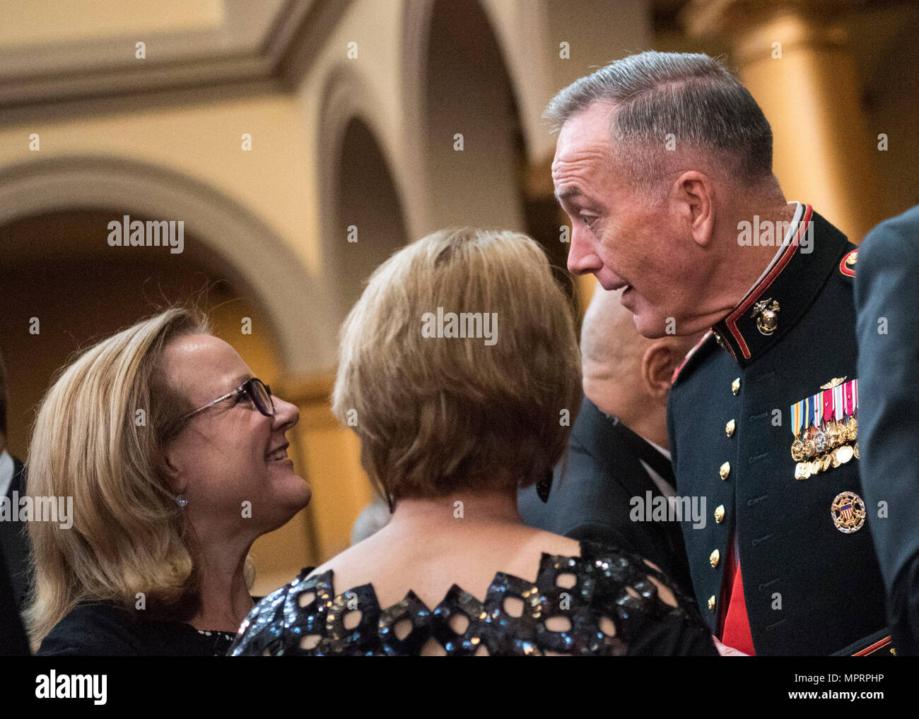 Marine Corps Gen. Joseph F. Dunford Jr., chairman of the Joint Chiefs of Staff, makes remarks during the Tragedy Assistance Program for Survivors (TAPS) 2017 Honor Guard Gala in Washington, D.C., April 12, 2017. Gen. Dunford served as the event's keynote speaker where he spoke about the importance of the TAPS organization. During the event, the National Basketball Association and USA Basketball were awarded the inaugural National Community Partnership Award, presented for the support they have shown for the Nation's military families and personal engagement with the surviving families of Ameri Stock Photo
