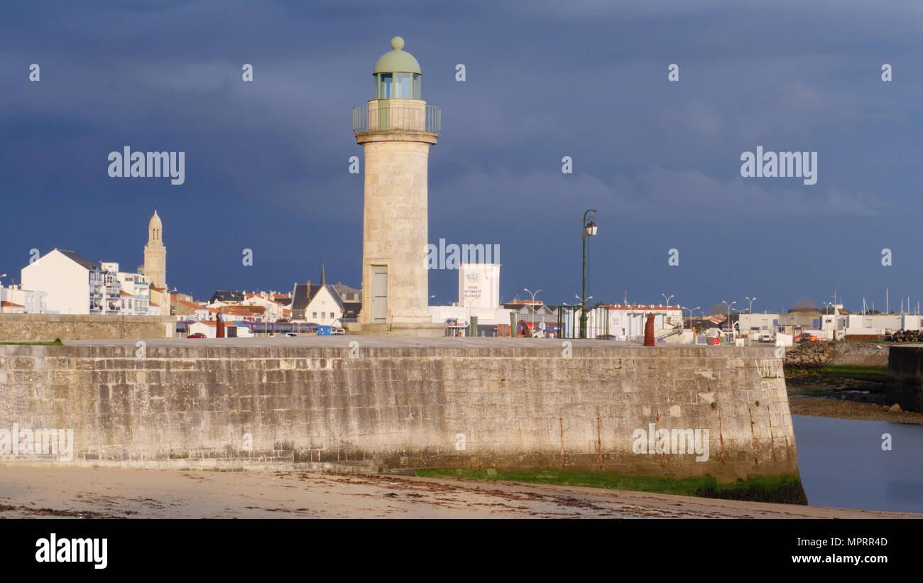 Lighthouse in Saint-Gilles-Croix-de-Vie, Vendée, France Stock Photo