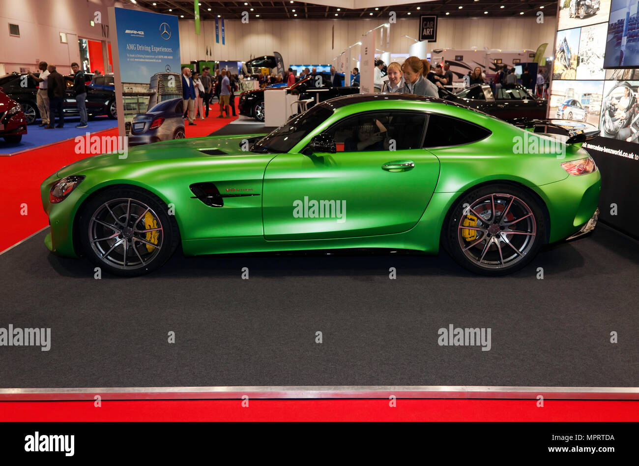 Side  view of a Mercedes-AMG GT R  on display at the  Mercedes-Benz World Stand, of the 2018 London Motor Show - Stock Image