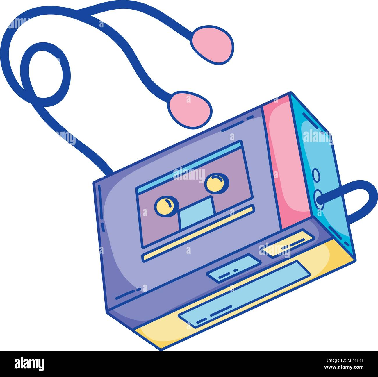 retro walman stereo music player - Stock Image