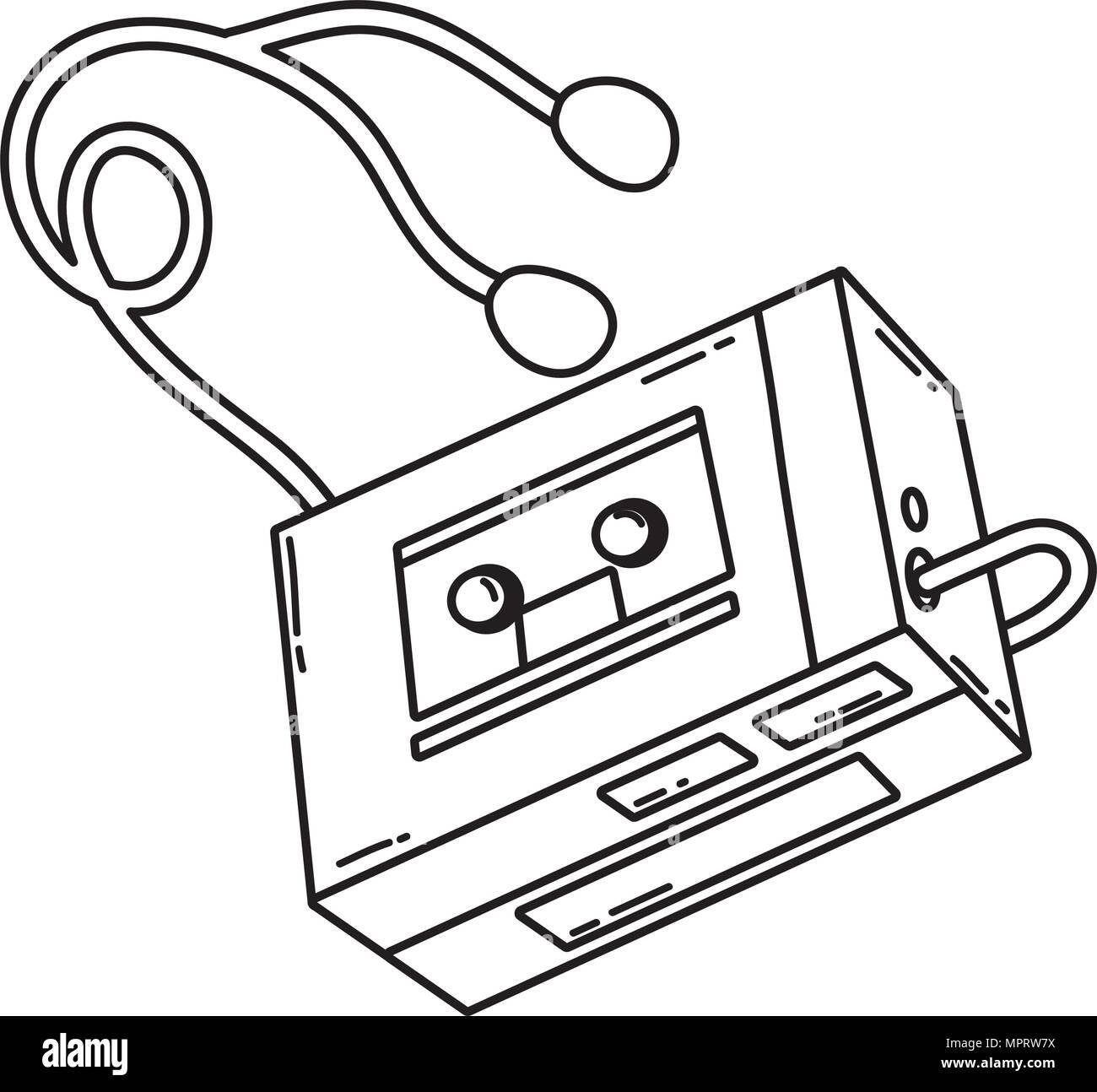 line retro walman stereo music player - Stock Image