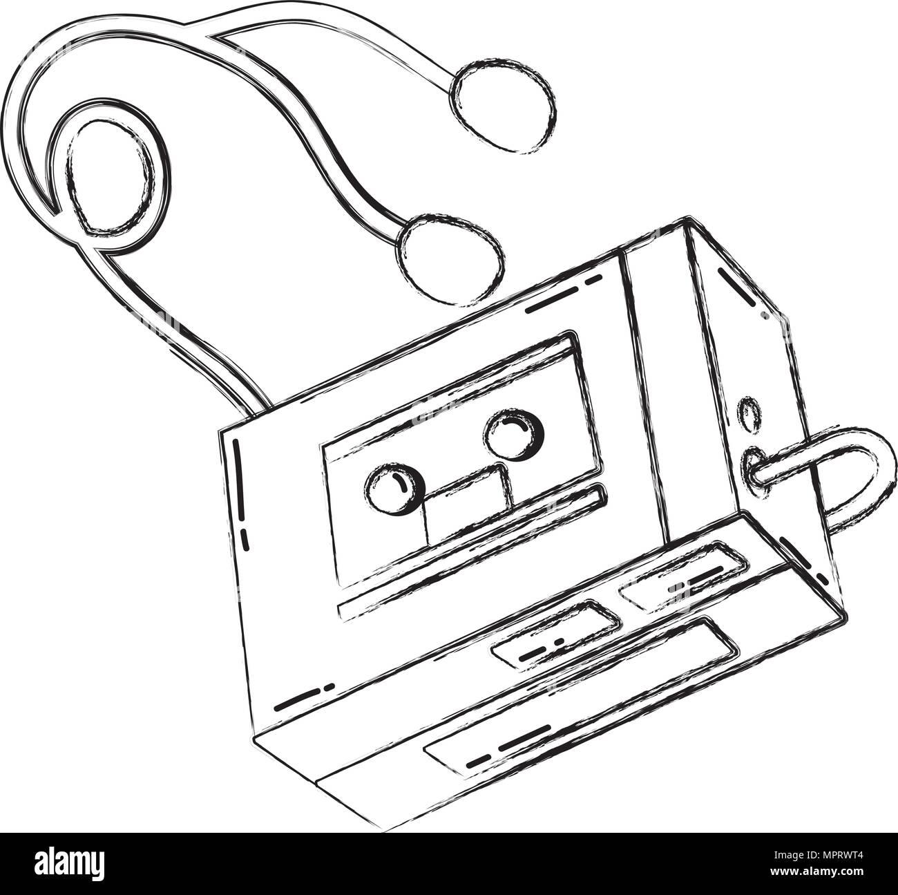 grunge retro walman stereo music player - Stock Image
