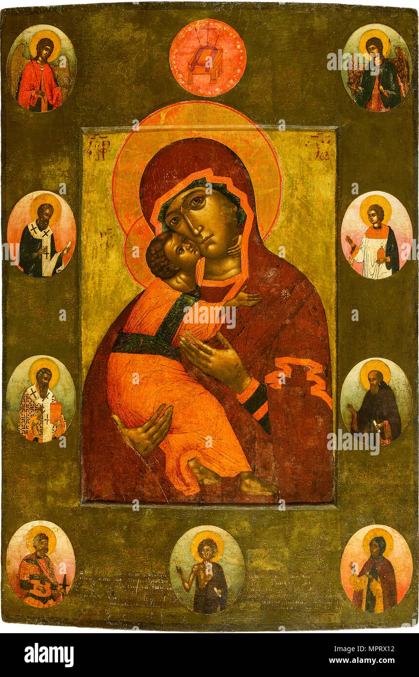 The Virgin of Vladimir with Selected Saints. - Stock Image