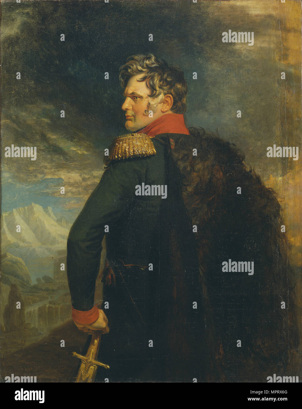 Portrait of the commander-in-chief of the Russian Army on the Caucasus Aleksey Yermolov (1777-1861). - Stock Image