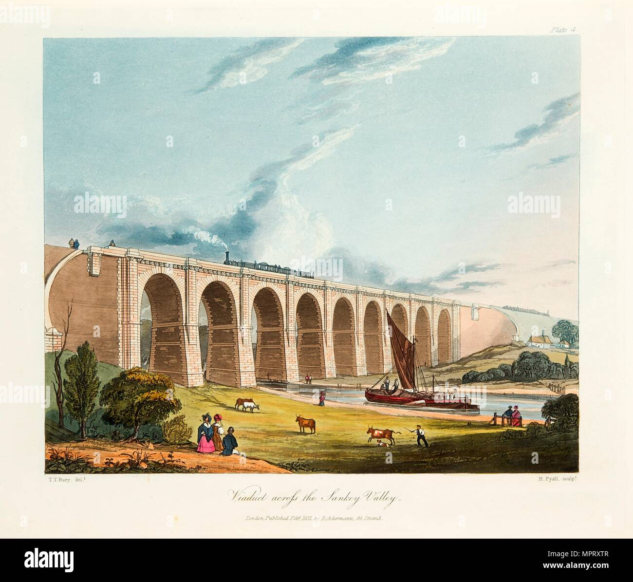 Viaduct across the Sankey Valley, Warrington, Cheshire, February 1831.  Artist: Thomas Talbot Bury. Stock Photo