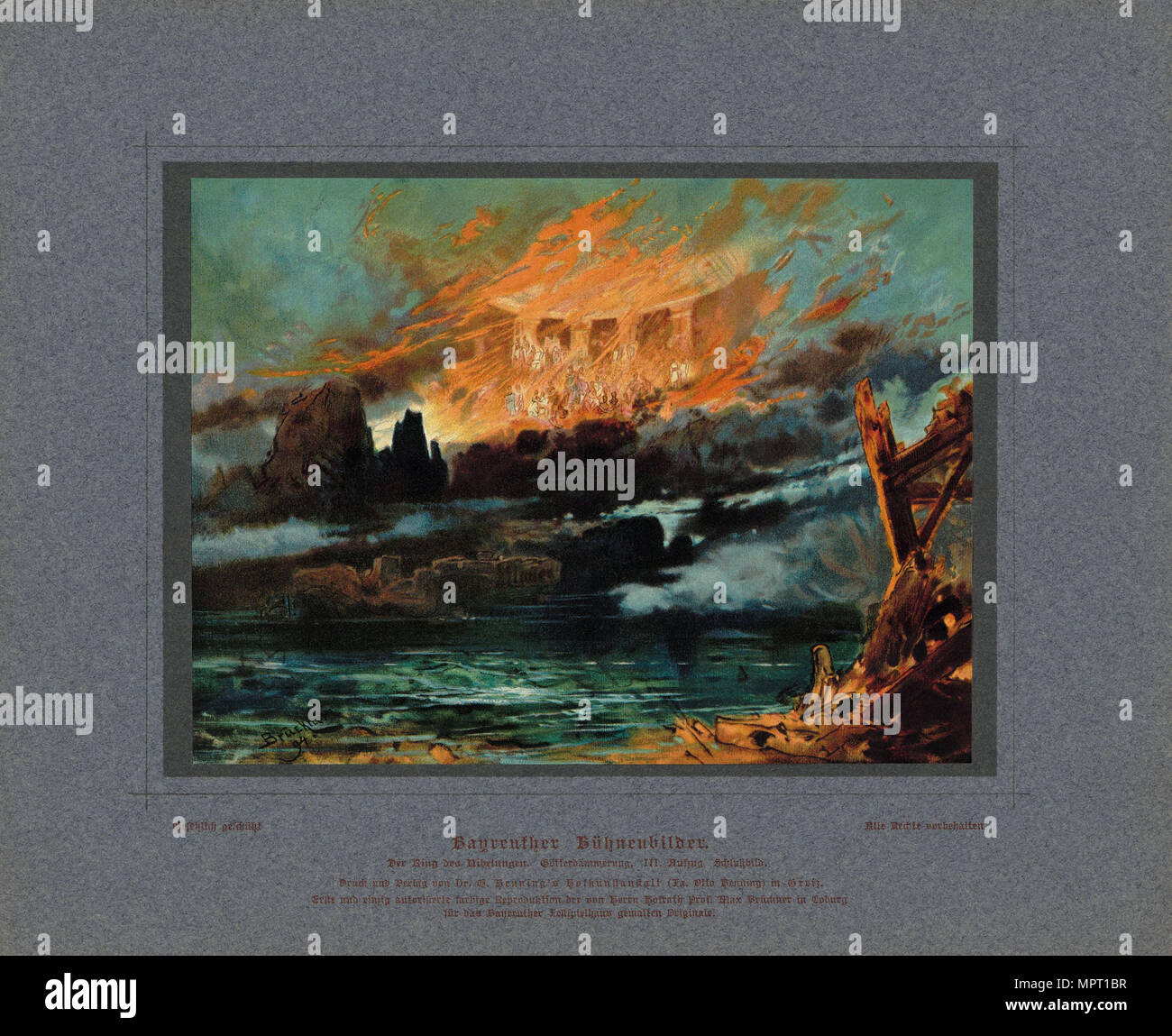 Valhalla on fire. Stage design for the opera Twilight of the Gods by Richard Wagner, 1896. - Stock Image