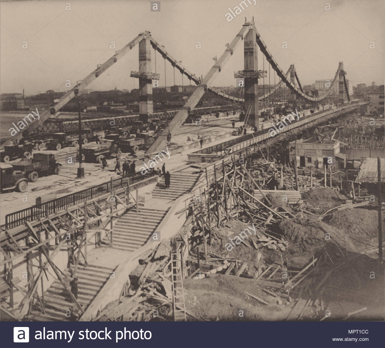 The Construction of the Crimean Bridge in Moscow, 1938. - Stock Image