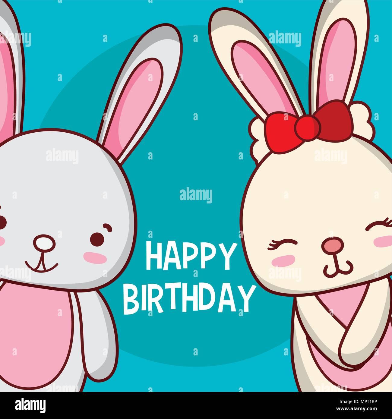 Cute Rabbits Happy Birthday Card