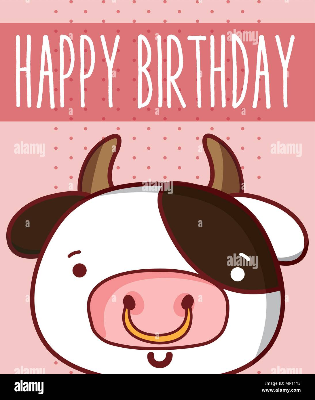 Fantastic Cow In Cute Happy Birthday Card Stock Vector Art Illustration Funny Birthday Cards Online Overcheapnameinfo