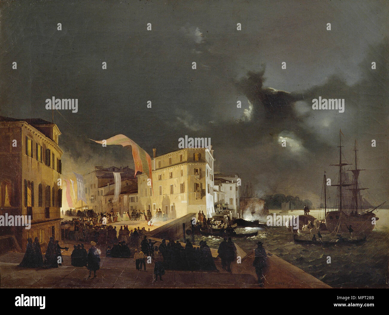 Night Festival in San Pietro di Castello, 1841. - Stock Image