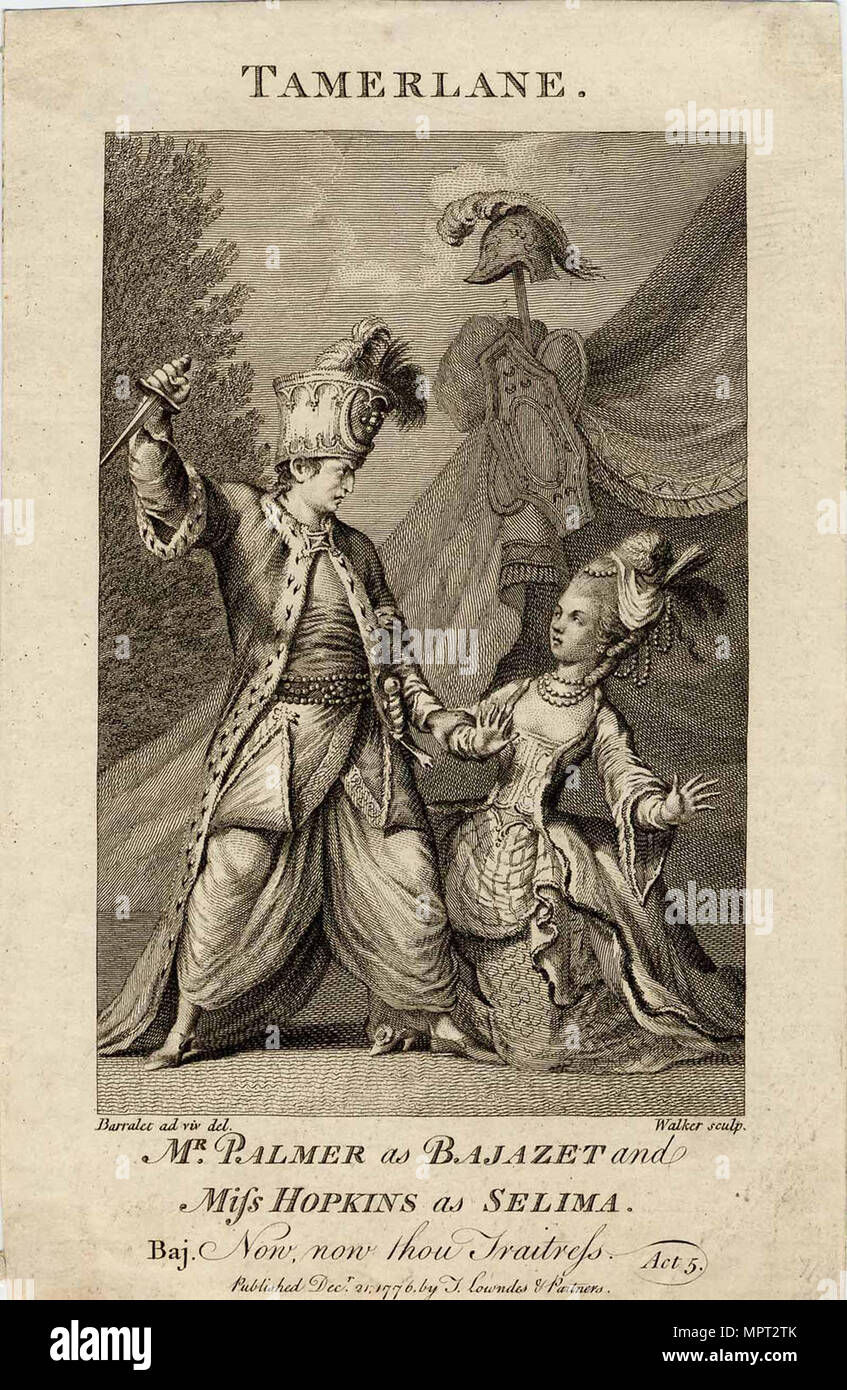 Mr Palmer as Bajazet and Miss Hopkins as Selima in Tamerlane by Nicholas Rowe. (Now, now, thou trai Stock Photo
