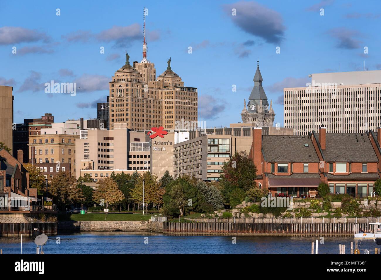 Basin Marina Park And City Skyline Buffalo New York Usa Stock Photo Alamy