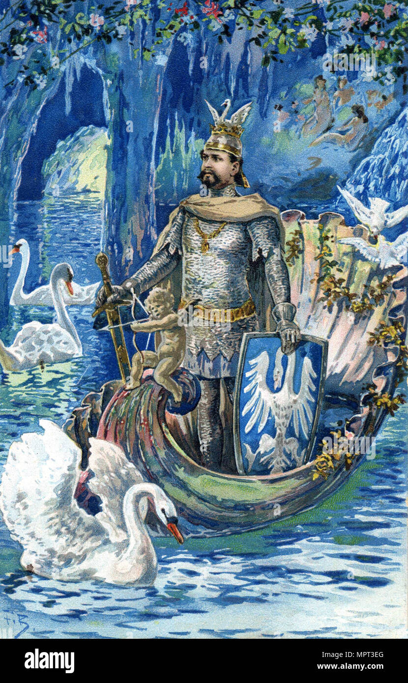 King Ludwig II as Lohengrin in the Blue Grotto of Linderhof Palace, c. 1900. - Stock Image