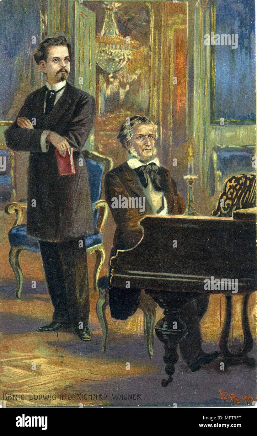 Richard Wagner and King Ludwig II, c. 1900. - Stock Image