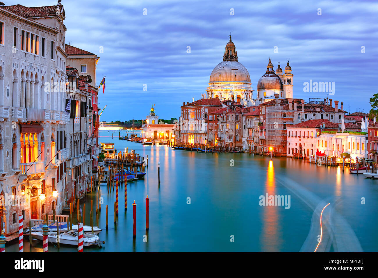 Grand canal at night in Venice, Italy - Stock Image