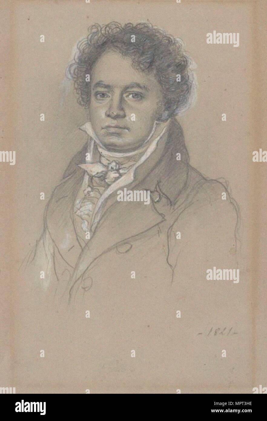 Portrait of Ludwig van Beethoven (1770-1827), 1821. - Stock Image