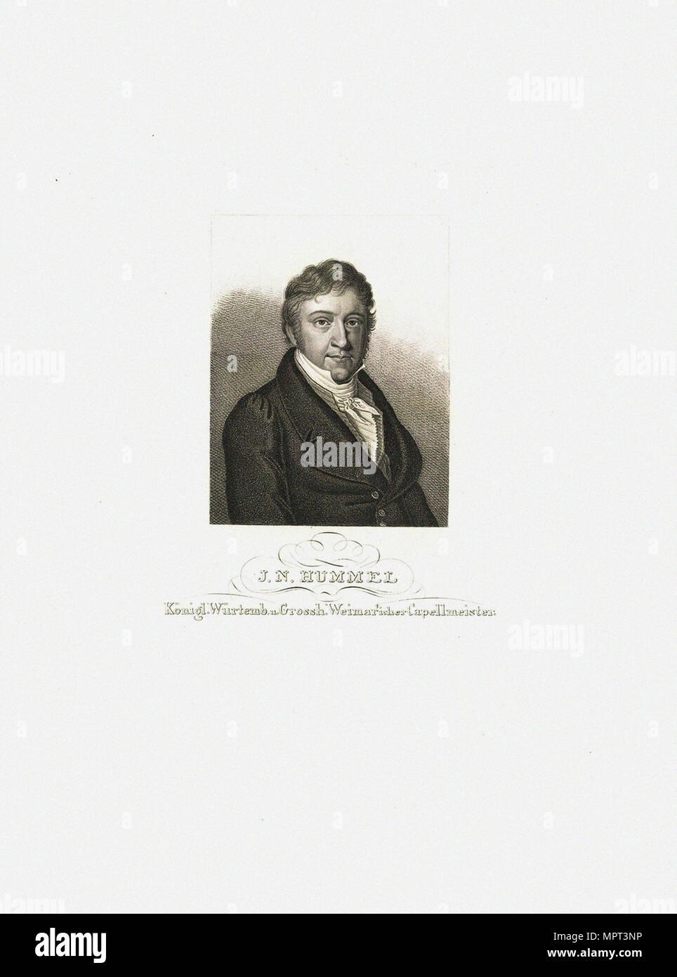 Portrait of Johann Nepomuk Hummel (1778-1837), c. 1830. - Stock Image