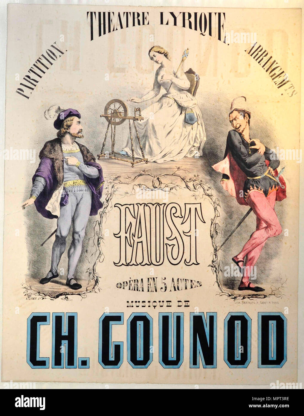 Premiere Poster for the opera Faust by Charles Gounod at the Théâtre Lyrique, March 19, 1859, 1859 - Stock Image