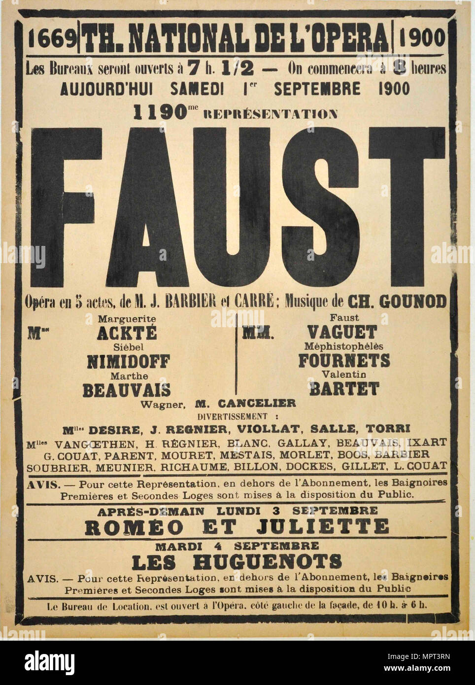 Poster for the Opera Faust by Charles Gounod at the Théâtre national de l'Opéra, September 1900, 1 Stock Photo