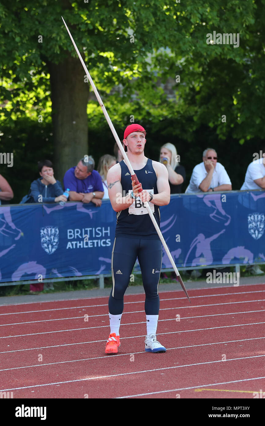 Loughborough, England, 20th, May, 2018.   Jack Magee competing in the Men's Javelin during the LIA Loughborough International Athletics annual meeting - Stock Image