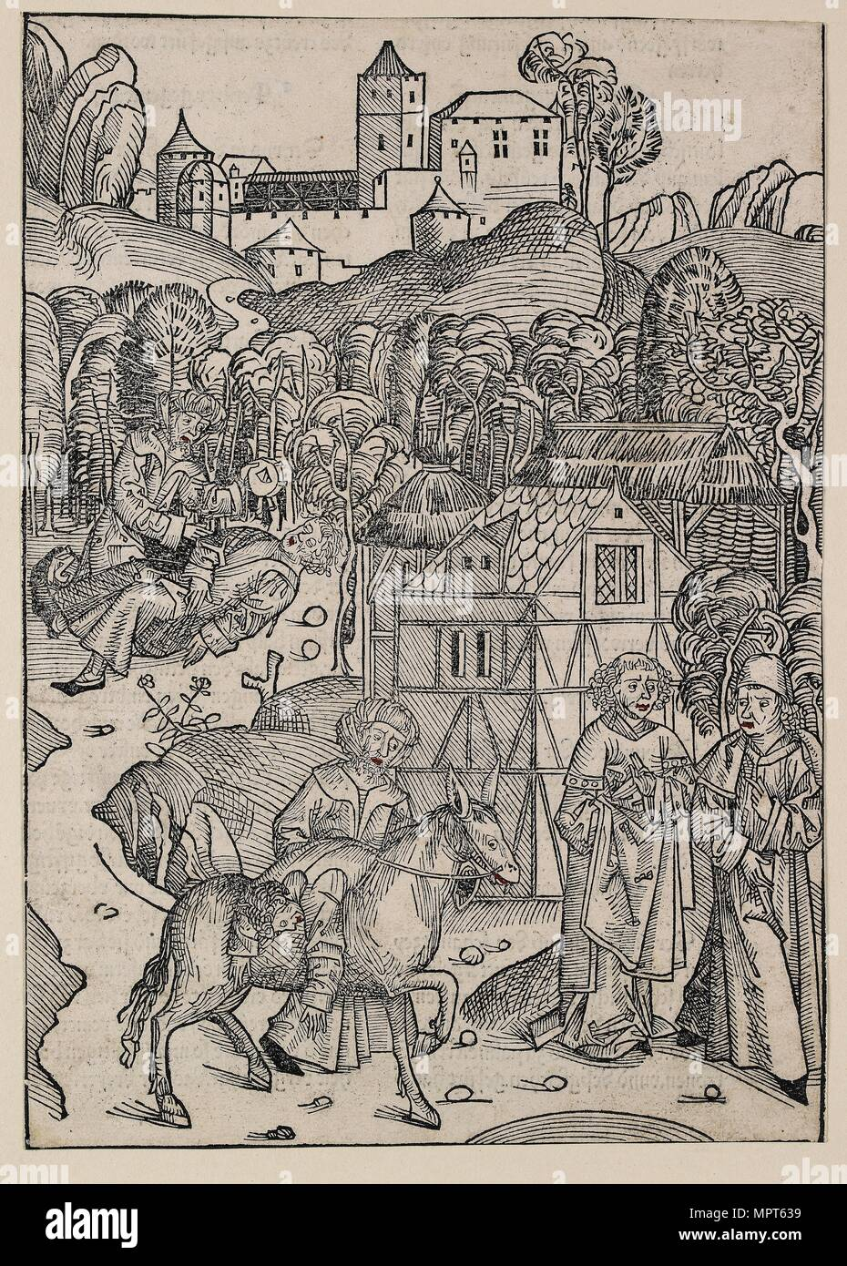 The second part of the parable of the good Samaritan, c1491. Artist: Michael Wolgemut. - Stock Image