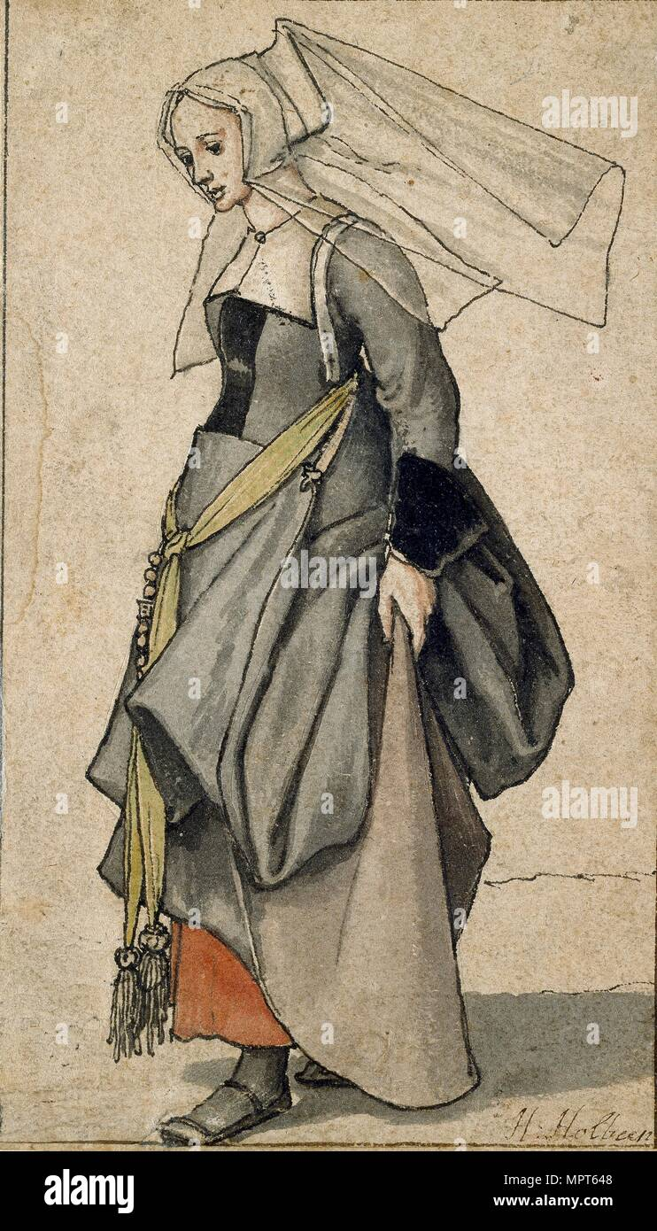 Figure of a young Englishwoman in contemporary dress, 1532-1543. Artist: Hans Holbein the Younger. - Stock Image