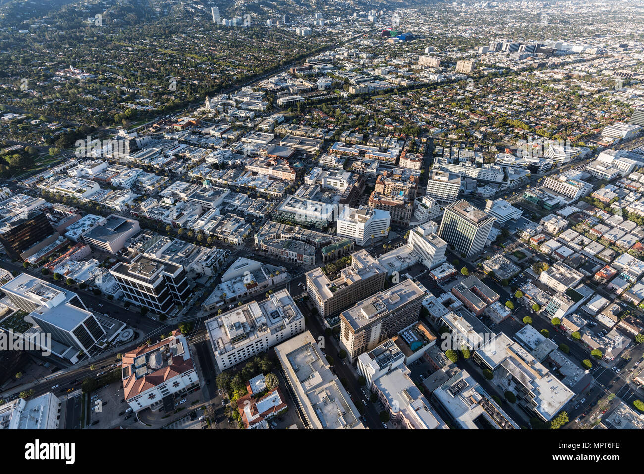 Aerial view of Wilshire Bl and Rodeo Dr business district in downtown Beverly Hills near West Hollywood and Los Angeles, California. - Stock Image