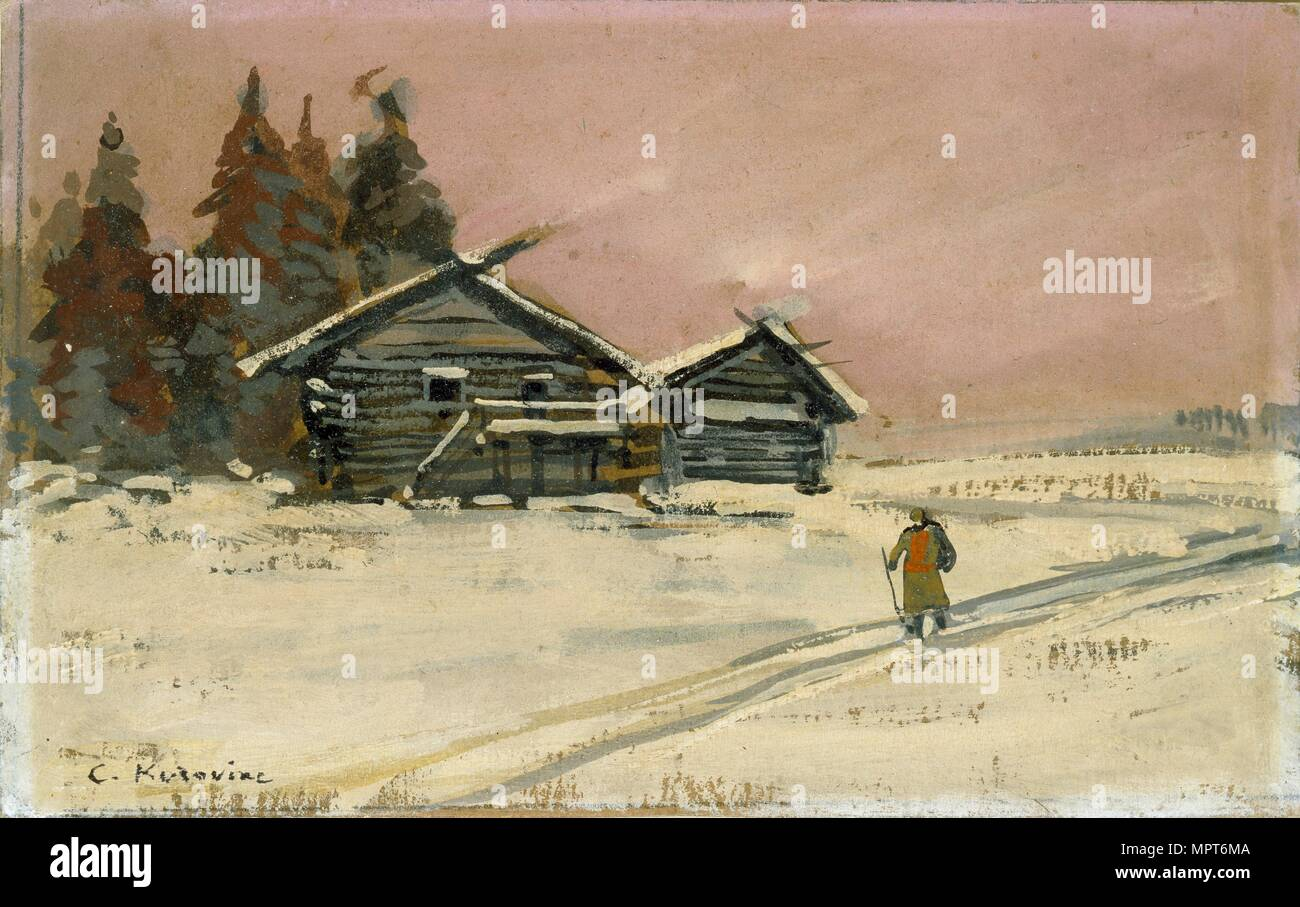 Winter Landscape with two wooden Huts, early 20th century. Artist: Konstantin Korovin. Stock Photo