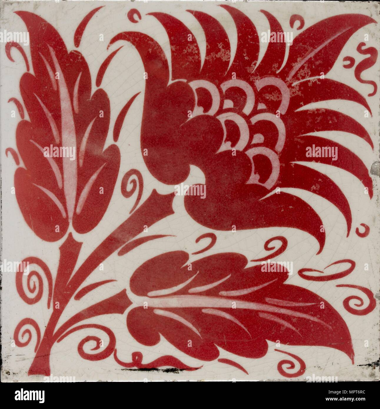 Tile with stylised flower with two leaves and tendrils, 1882-1888. Artist: William Frend De Morgan. - Stock Image