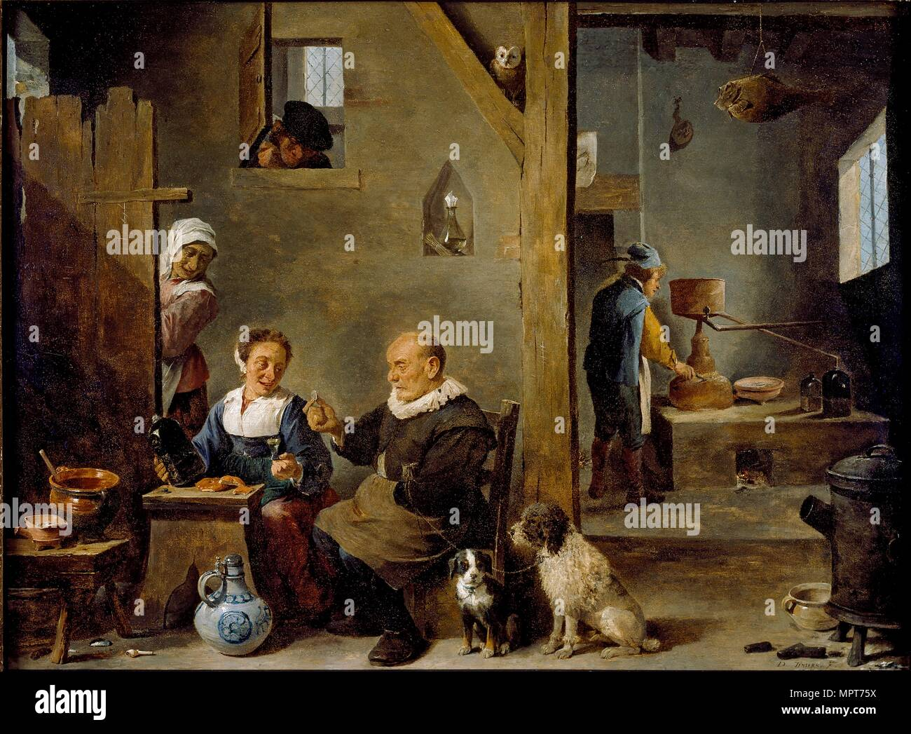 A Distillery with an elderly Man buying Gin from a Woman, c1640-1649. Artist: David Teniers II. Stock Photo