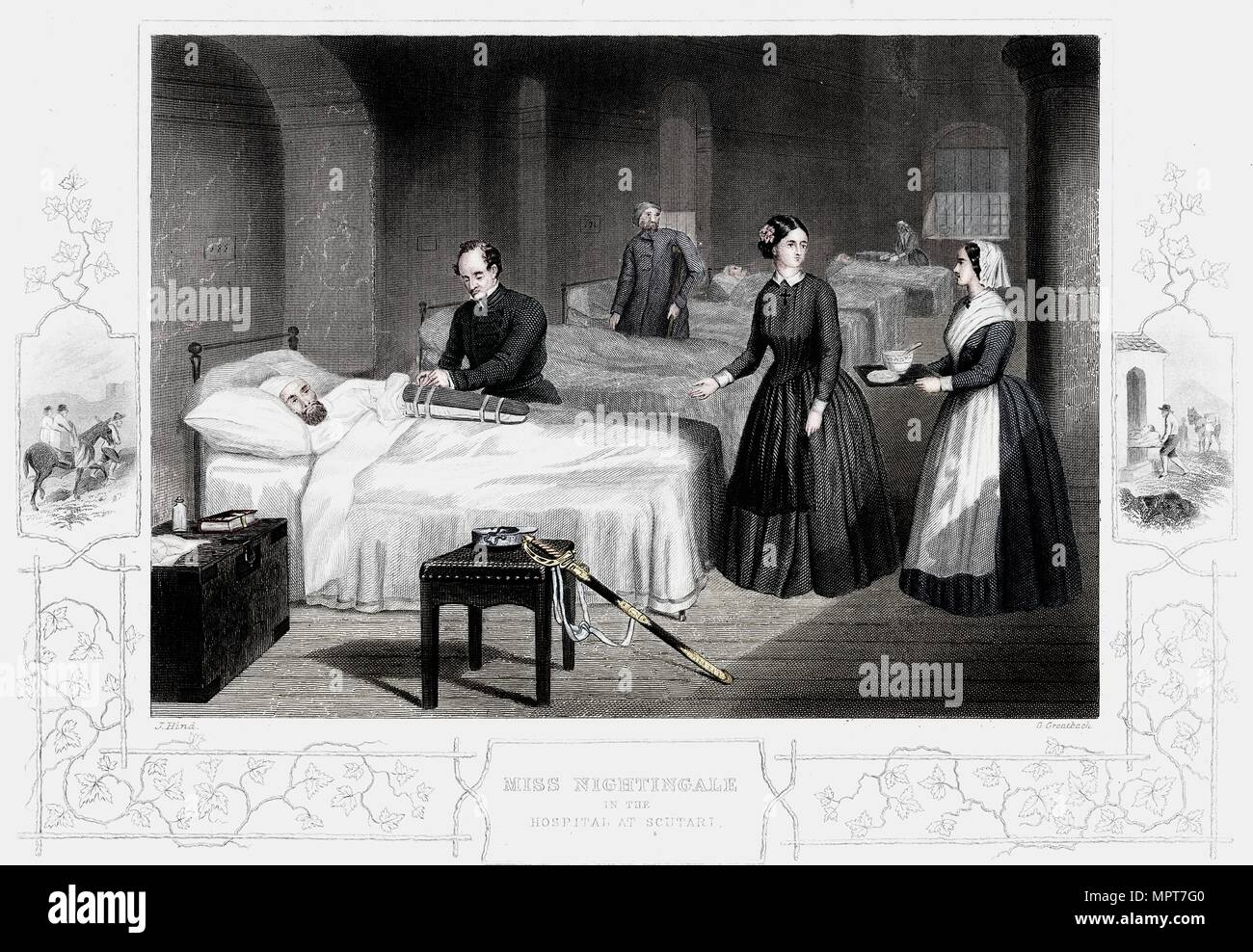 Florence Nightingale in the hospital at Scutari, c1860. Artist: Anon. - Stock Image