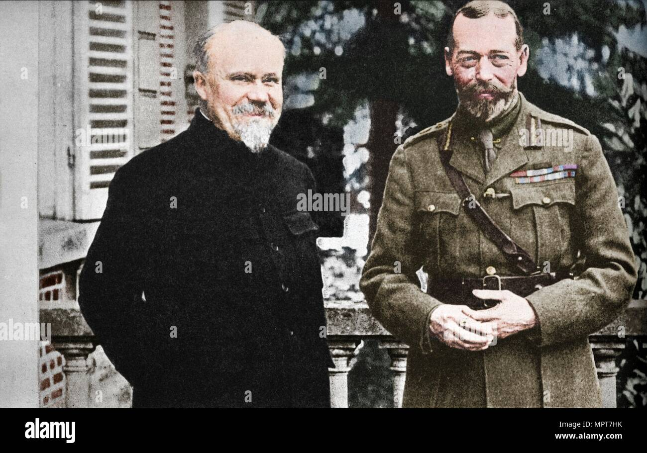 'His Majesty with President Poincare at The British General Headquarters in France', c1916, (1935). Artist: Unknown. - Stock Image