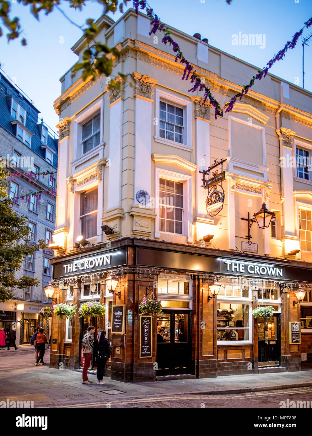 The Crwn Pub at Night The Seven Dials London UK - Stock Image