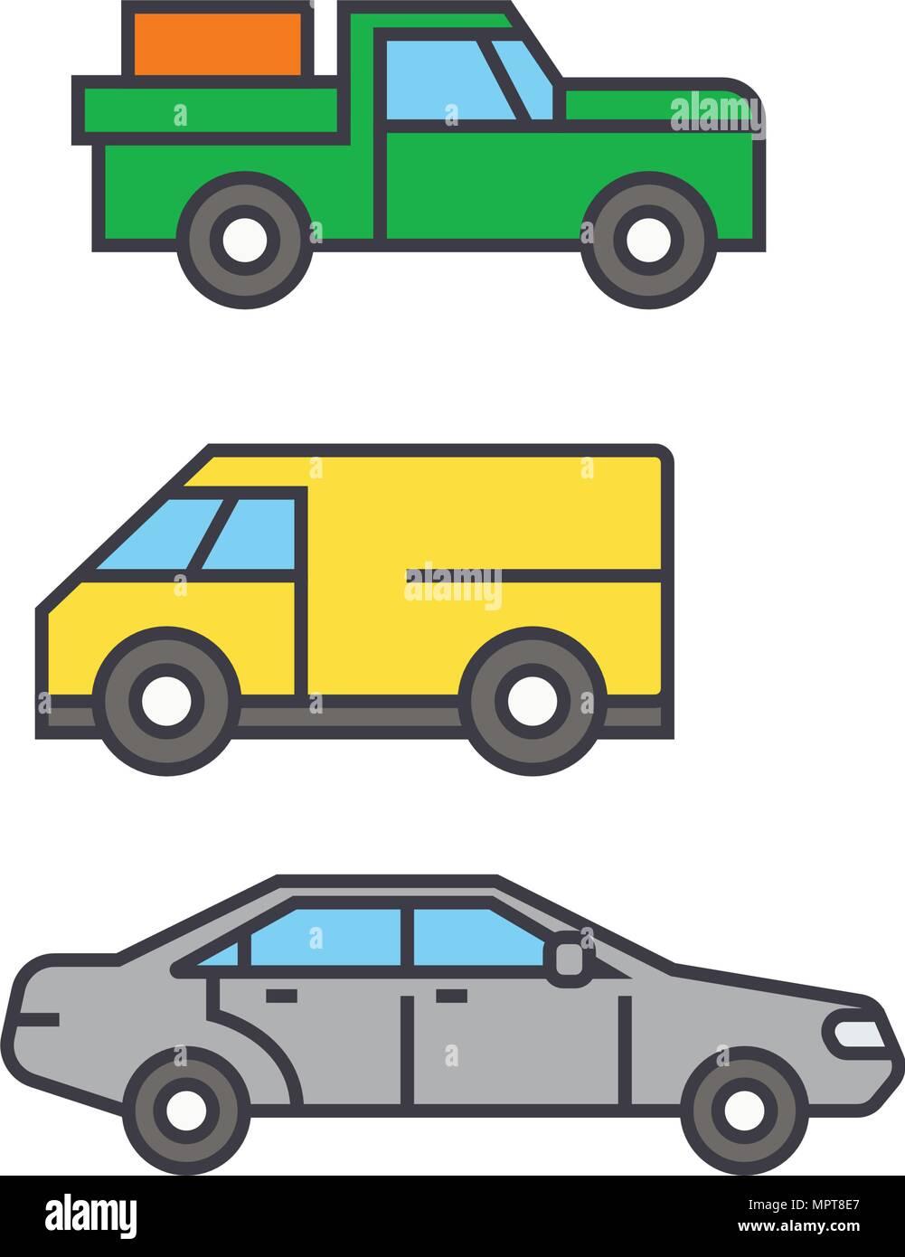 Pickup Car Line Icon Vector Illustration Pickup Car Flat